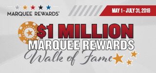"The words ""$1 million Marquee Rewards Walk of Fame"" on a gray background and the dates May 1-July 31, 2018."