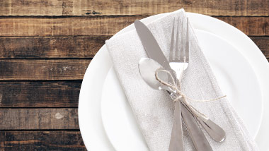 place setting on a wooden table